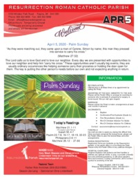 April 5, 2020 Bulletin and Inserts